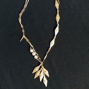 J CREW Multi-Pendant Brass Necklace